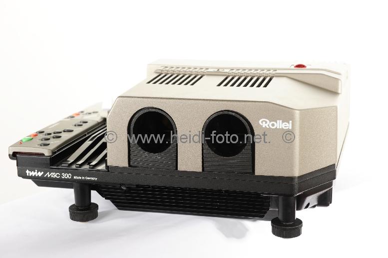 Rollei MSC 300 twin Diaprojektor IR Fernbedienung Gehäuse + 4x neue HLX Lampen