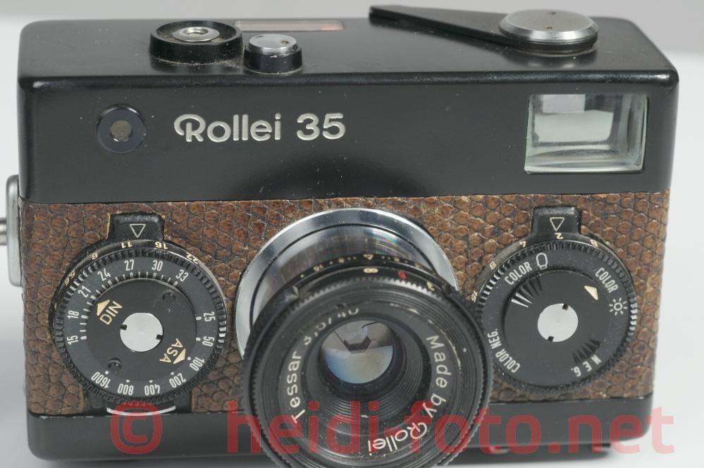 Rollei 35  black mit Zeiss Tessar und  Kroko Leder