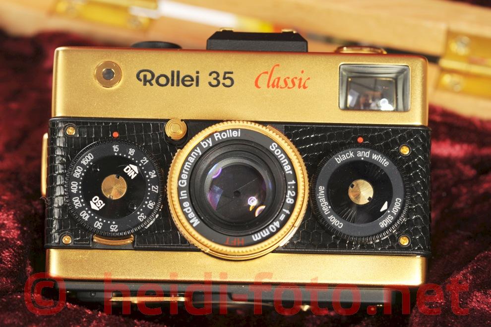 Rollei 35 classic m.i. germany 40/2.8 gold Leder w.neu - w.snake skin leather